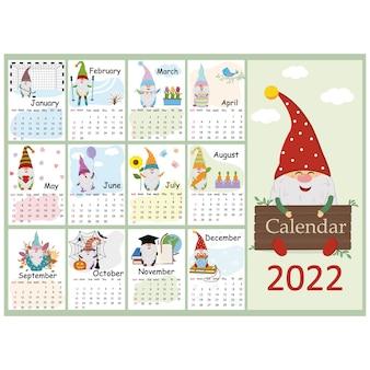 Calendrier de conception pour 2022 gnome mignon dans différentes situations style cartoon.