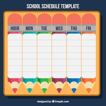 Calendrier avec des crayons pour retourner à l'école