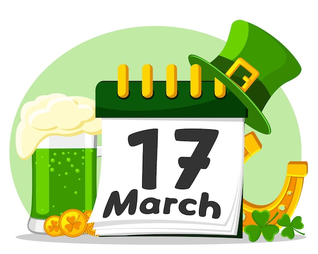 Calendrier du 17 mars avec un verre de bière verte, un fer à cheval et un chapeau. jour de la st patrick.