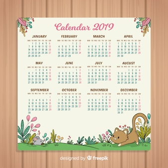 Calendrier du nouvel an 2019 dessiné à la main