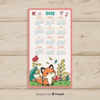 Calendrier du nouvel an 2019 dessiné à la main