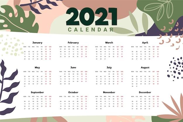 Calendrier du nouvel an 2021 dessiné à la main