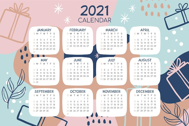 Calendrier du nouvel an 2021 dessiné à la main