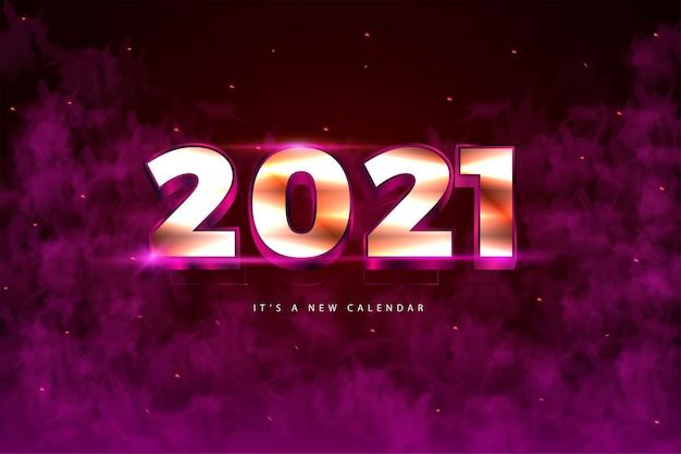 Calendrier du nouvel an 2021, illustration de vacances du modèle de fond coloré or