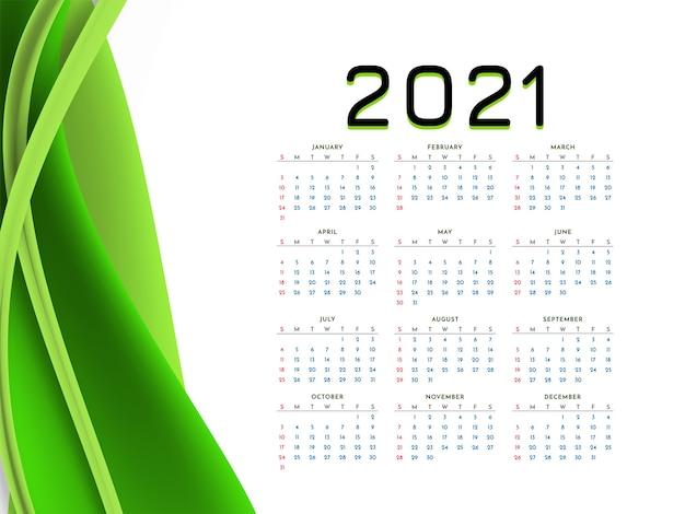 Calendrier du nouvel an 2021 avec vague verte élégante
