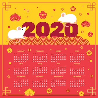 Calendrier du nouvel an chinois coloré au design plat