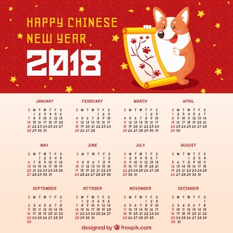 Calendrier du nouvel an chinois dessiné à la main