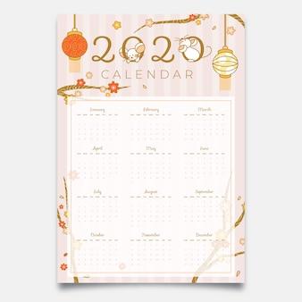 Calendrier du nouvel an chinois dessiné à la main