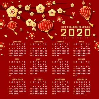 Calendrier du nouvel an chinois rouge et or avec lampes