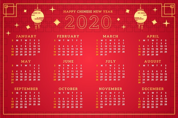 Calendrier du nouvel an chinois rouge et or