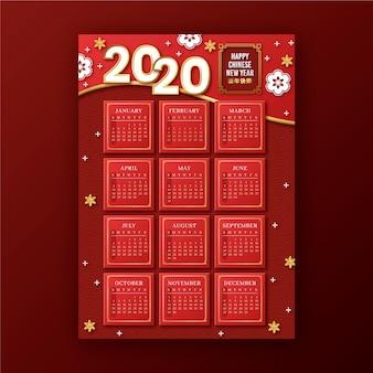 Calendrier du nouvel an chinois rouge et or