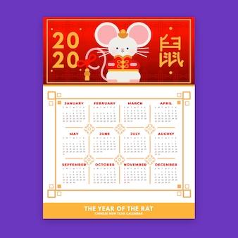 Calendrier du nouvel an chinois avec la souris
