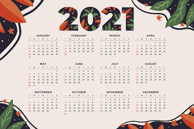 Calendrier du nouvel an dessiné à la main