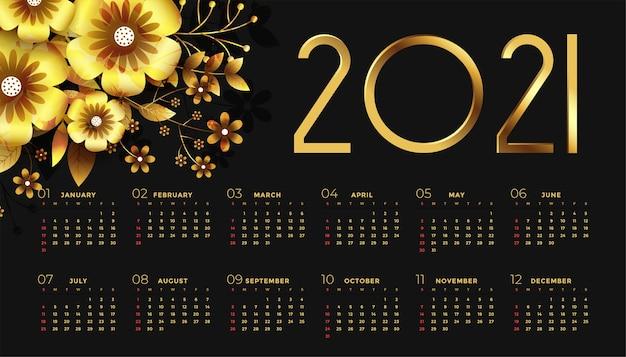 Calendrier du nouvel an noir et or avec des fleurs
