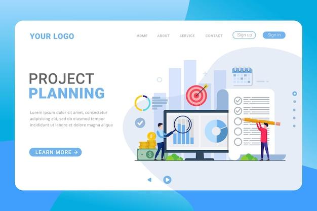 Calendrier du projet de planification du modèle de page de destination