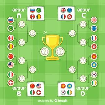 Calendrier du tournoi dessiné à la main moderne