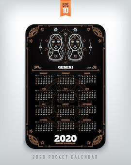 Calendrier du zodiaque année verseau format de poche disposition verticale illustration de concept de style de couleur noire