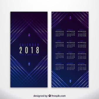Calendrier élégant de 2018 avec des lignes