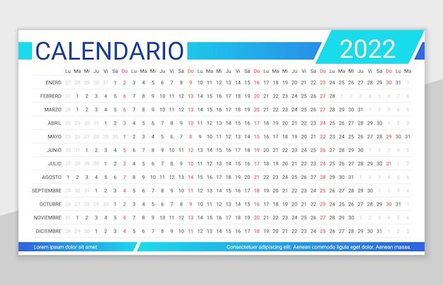 Calendrier espagnol linéaire 2022. modèle de planificateur de calendrier pour l'année. la semaine commence le lundi. grille annuelle
