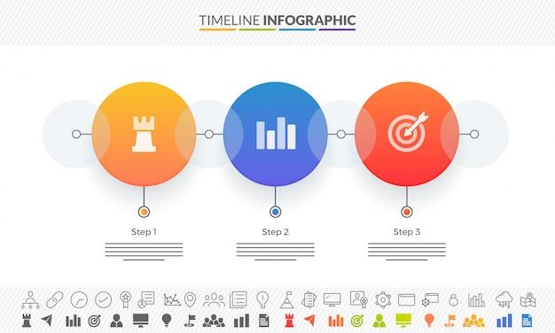 Calendrier de la feuille de route colorée disposition d'infographie avec 3 étapes et deux variantes d'icônes.