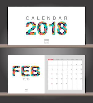 Calendrier de février 2018. modèle de conception moderne de calendrier de bureau avec des styles de papier découpé