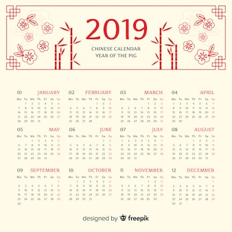 Calendrier fleurs nouvel an chinois