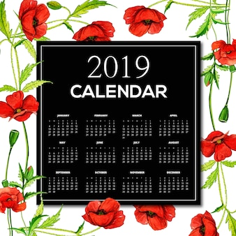 Calendrier floral aquarelle 2019
