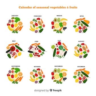 Calendrier de fruits et de fruits de saison de cercles dessinés à la main