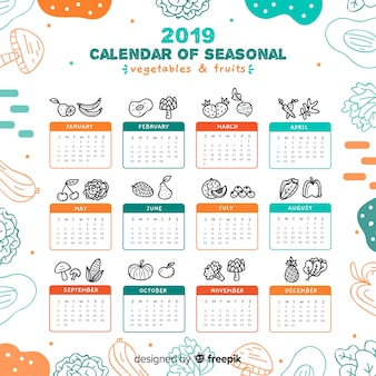 Calendrier de fruits et légumes de saison dessinés à la main