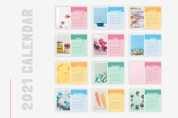 Calendrier général photo concept pastel créatif