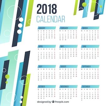 Calendrier géométrique plat 2018