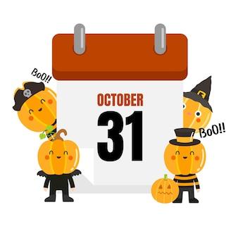 Calendrier d'halloween avec octobre