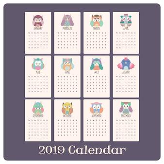 Calendrier hibou coloré pour 2019