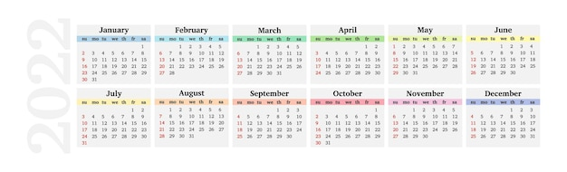 Calendrier horizontal pour 2022 isolé sur fond blanc. du dimanche au lundi, modèle d'affaires. illustration vectorielle
