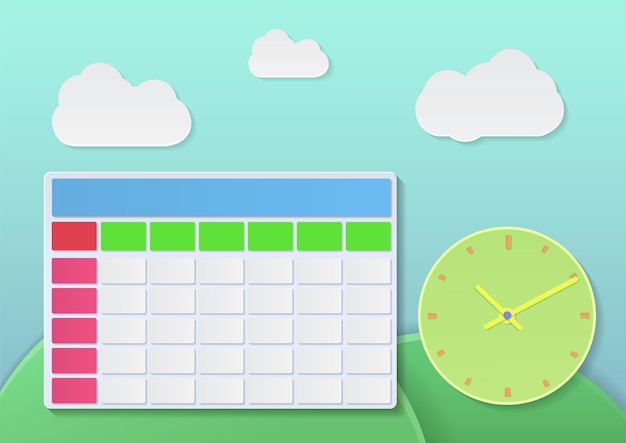 Calendrier et horloge avec style 3d