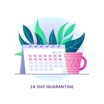 Calendrier avec des jours barrés et des plantes