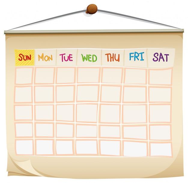 Un calendrier avec les jours de la semaine