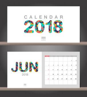 Calendrier de juin 2018 modèle de conception moderne de calendrier de bureau avec des styles de papier découpé