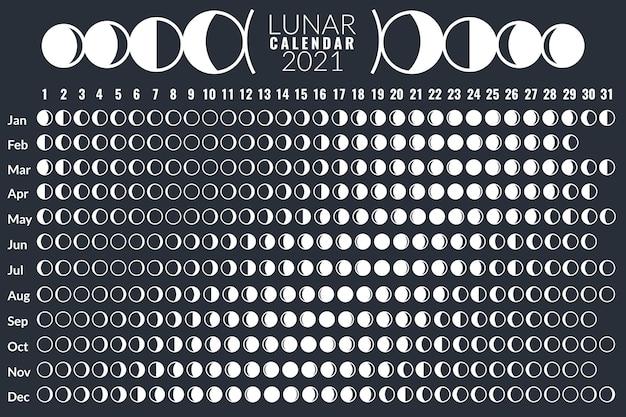 Calendrier lunaire. conception d'affiches du calendrier des phases lunaires 2021, planificateur de cycle mensuel