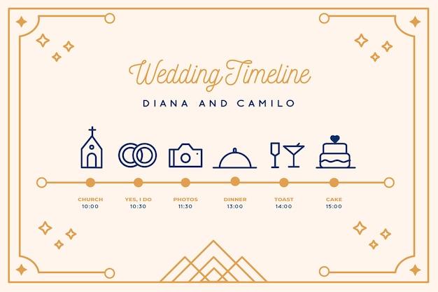 Calendrier de mariage dans le style linéaire