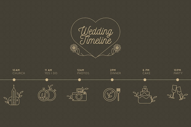 Calendrier de mariage de style linéaire