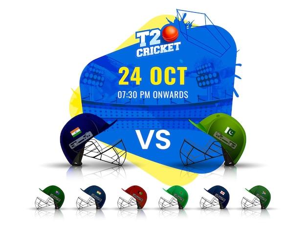 Calendrier des matchs de cricket t20 entre l'inde et le pakistan avec d'autres casques de pays participants sur fond de stade abstrait.