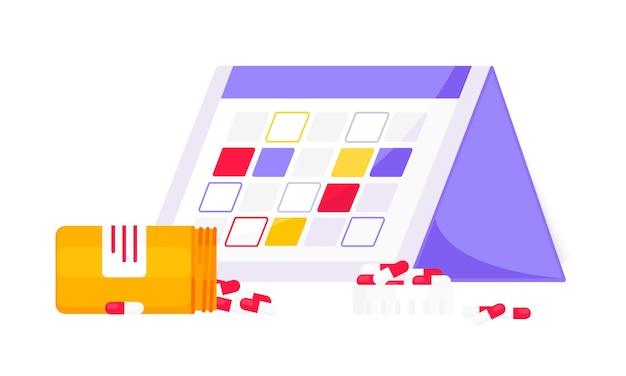 Calendrier de médecine ou planificateur de rappel médical illustration vectorielle de conception de style plat