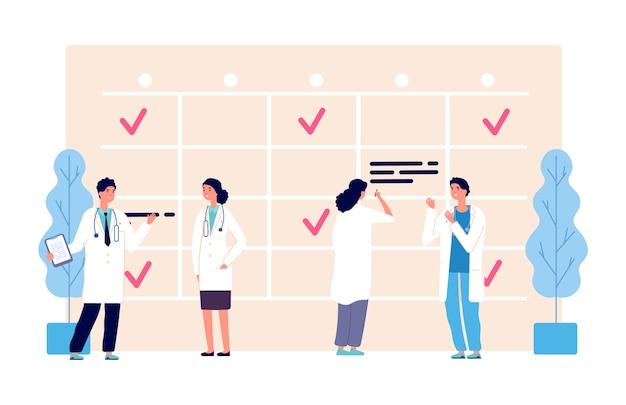 Calendrier médical. horaire de travail des médecins. équipe de la clinique, agenda, personnages du personnel de l'hôpital