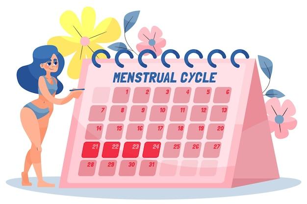 Calendrier menstruel illustré d'une femme