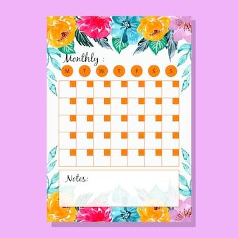 Calendrier mensuel d'aquarelles de fleurs colorées