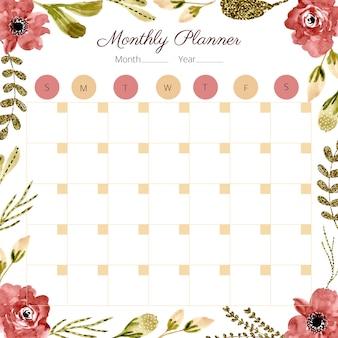Calendrier mensuel avec cadre floral aquarelle