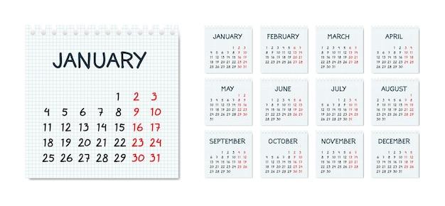 Calendrier mensuel dans un style fragmentaire sur la page de cahier au carré