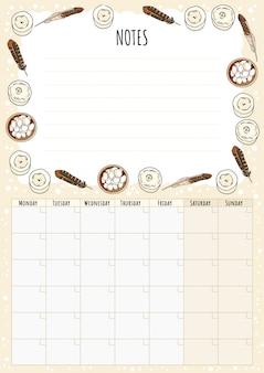 Calendrier mensuel hygge avec éléments boho et notes à faire