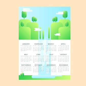 Calendrier mensuel de vecteur avec super paysage, impression a4